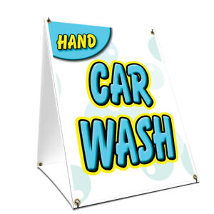 A frame Sidewalk Hand Car Wash Sign With Graphics On Each Side 24 X 36
