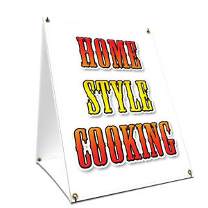 A frame Sidewalk Home Style Cooking Sign With Graphics On Each Side 24 X 36