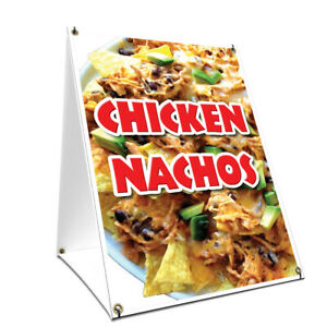 A frame Sidewalk Chicken Nachos Sign With Graphics On Each Side 24 X 36
