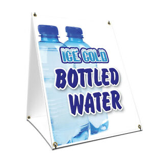 A frame Sidewalk Ice Cold Bottled Water Sign Double Sided Graphics 24 X 36