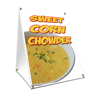 A frame Sidewalk Sweet Corn Chowder Sign With Graphics On Each Side 24 X 36
