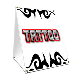 A frame Sidewalk Tattoo1 Sign With Graphics On Each Side 24 X 36 Print Size