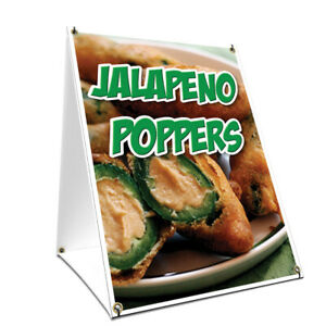 A frame Sidewalk Jalapeno Poppers Sign With Graphics On Each Side 24 X 36