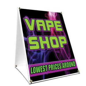 A frame Sidewalk Vape Shop Lowest Prices Around Sign Double Sided 24 X 36