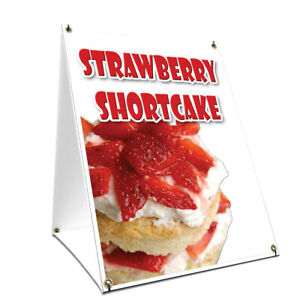 A frame Sidewalk Strawberry Shortcake Sign Double Sided Graphics 24 X 36