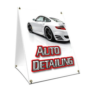 A frame Sidewalk Auto Detailing Sign With Graphics On Each Side 24 X 36