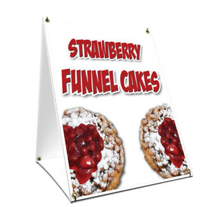 A frame Sidewalk Strawberry Funnel Cakes Sign Double Sided Graphics 18 X 24