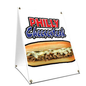 A frame Sidewalk Philly Cheesesteak Sign With Graphics On Each Side 18 X 24