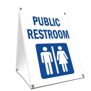 A frame Sidewalk Public Restroom Sign With Graphics On Each Side 18 X 24