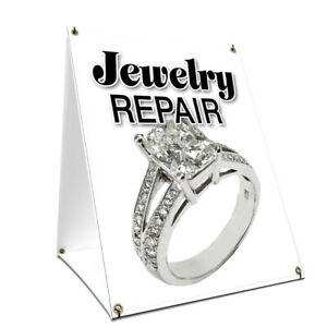 A frame Sidewalk Jewelry Repair Sign With Graphics On Each Side 18 X 24