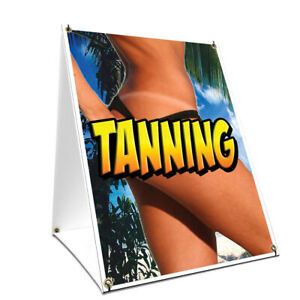 A frame Sidewalk Tanning Sign With Graphics On Each Side 18 X 24 Print Size