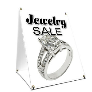 A frame Sidewalk Jewelry Sale Sign With Graphics On Each Side 18 X 24