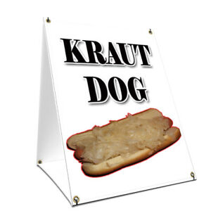 A frame Sidewalk Kraut Hot Dog Sign With Graphics On Each Side 18 X 24