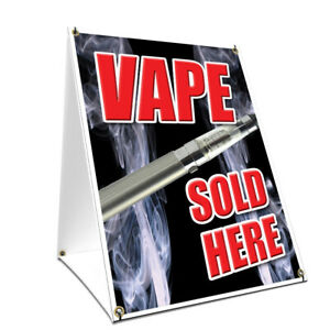 A frame Sidewalk Vape Sold Here Sign With Graphics On Each Side 18 X 24