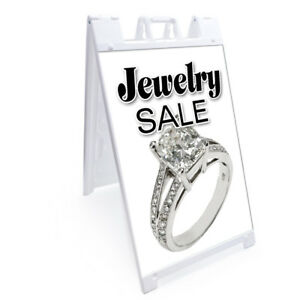 A frame Jewelry Sale Sign With Graphics On Each Side 24 X 36 Heavy Duty