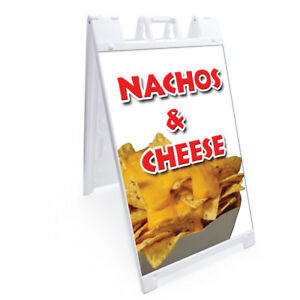 A frame Nachos Cheese Sign With Graphics On Each Side 24 X 36 Print Size