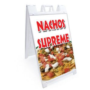 A frame Nachos Supreme Sign With Graphics On Each Side 24 X 36 Print Size