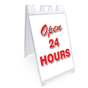 A frame Open 24 Hours Sign With Graphics On Each Side 24 X 36 Heavy Duty