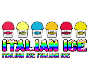 Italian Ice Ii 7 Concession Decals 2 Free Cart Trailer Stand Sticker Supplies