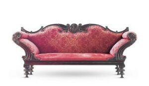 C 1890 Antique Portuguese Rosewood Upholstered Settee Sofa