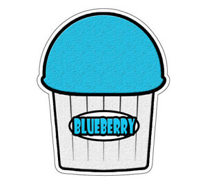 Blue Berry Flavor Italian Ice 36 Decal Shaved Cart Trailer Stand Sticker