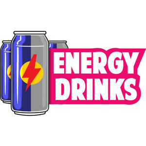 Energy Drinks 36 Concession Decal Sign Cart Trailer Stand Sticker Equipment