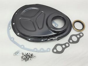 Small Block Chevy Black Timing Chain Cover Kit Gasket Bolts 350 400 305 Roller