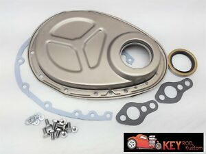 Small Block Chevy Raw Unpainted Timing Chain Cover Kit Gasket 350 400 305 Roller