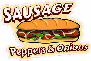 Sausage Peppers Onions 36 Concession Decal Sign Cart Trailer Stand Sticker