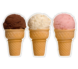 Three Ice Cream Cones Concession 36 Decal Sign Cart Trailer Stand Sticker