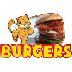 Burgers 48 Concession Decal Sign Cart Trailer Stand Sticker Equipment