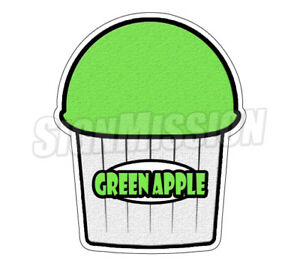 Green Apple Flavor Italian Ice 48 Decal Shaved Ice Cart Trailer Stand Sticker