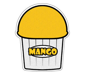 Mango Flavor Italian Ice 48 Decal Shaved Ice Cart Trailer Stand Sticker