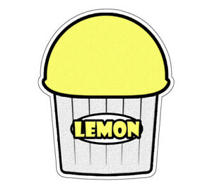 Lemon Flavor Italian Ice 48 Decal Shaved Ice Cart Trailer Stand Sticker