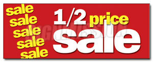 48 Half Price Sale Decal Sticker 1 2 Huge Retail Clearance Discount Off