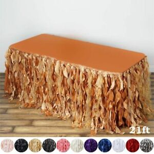 21 Feet X 29 Taffeta Curly Banquet Table Skirt Party Wedding Booth Decorations