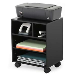 Wood Mobile Laptop Printer Cart Rolling Computer Stand Portable Office Organizer
