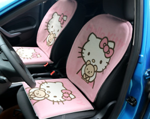 Super Cute Hello Kitty Car Accessories Pink Linen Car Front Rear Seat Cover