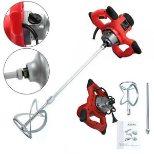 Electric Mortar Mixer 1500w Dual High Low Gear 6 Speed Paint Cement Grout 110v