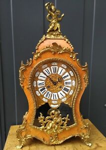 Large Italian Hermle Cartel Mantle Clock Walnut And Bronze Louis Xv Boulle