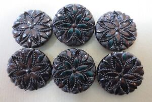 6 Vintage Victorian Lacy Black Glass Buttons Flower Design On Faux Fabric Look