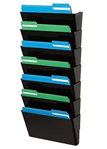 1inthehome Expandable Wall Wall File Organizer Letter sized 7 Pocket Black