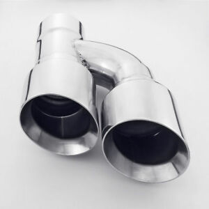 3 Inlet Dual 4 Outlet Exhaust Tip Angle Cut Dual Wall Tailpipe Polished