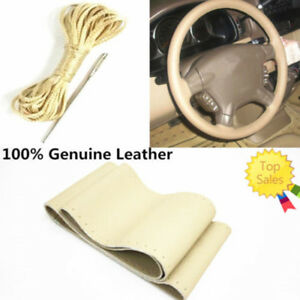 Beige Genuine Leather Diy Car Steering Wheel Cover 38cm With Needles And Thread