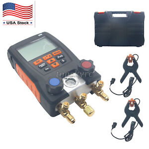 Refrigeration Digital Manifold Meter Kit For Testo With 2pcs Clamp Probes Us