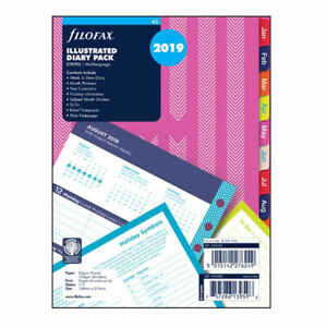 Filofax A5 Size 2019 Stripes Illustrated Diary Refill Pack Refill Insert 19 6353