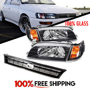 Toyota Corolla Jdm Spec Pair Glass Headlights Black And Grill Years 93 To 97