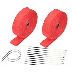 20 Zip Ties 2 Roll X 2 50ft Red Fiberglass Exhaust Header Pipe Heat Wrap Tape