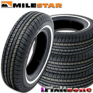 4 Milestar Ms775 P225 75r15 102s white Wall All Season Tires New