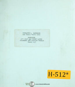 Harrison 17 L17 Swing Lathe And Copying Models Operations And Parts Manual